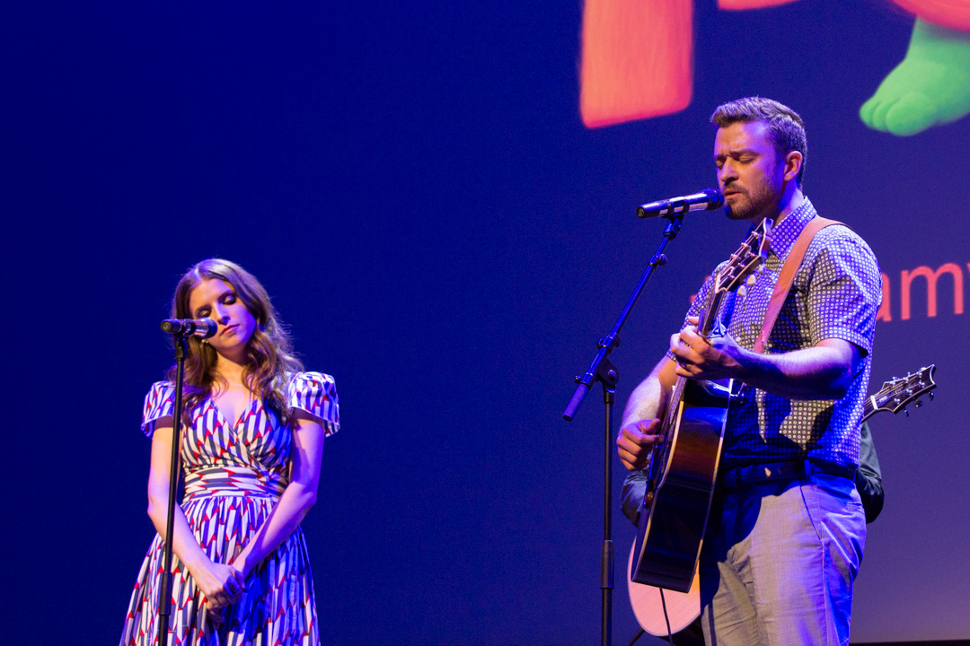 "Justin Timberlake and Anna Kendrick perform ""True Colors"" at the preview screening of DreamWorks 'Trolls' during the 69th Cannes Film Festival at the Salle Debussy on May 11th, 2016 in Cannes, France. (Photo by Darren Brade)"